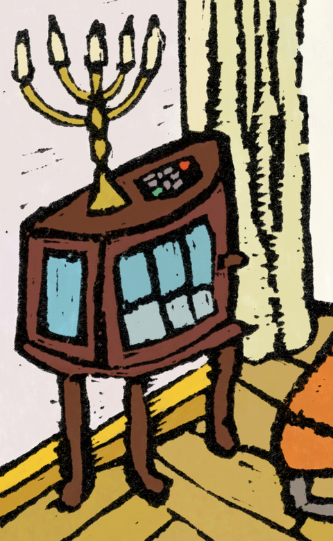 Fake Jewish Candlestick and TV Remote Control Placed on Wooden Cabinet.