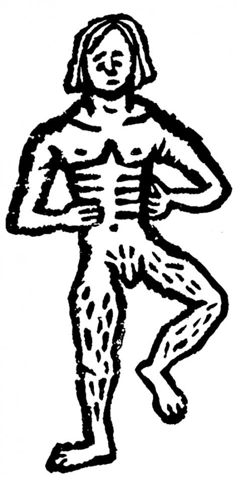 Nude White Man on White Background